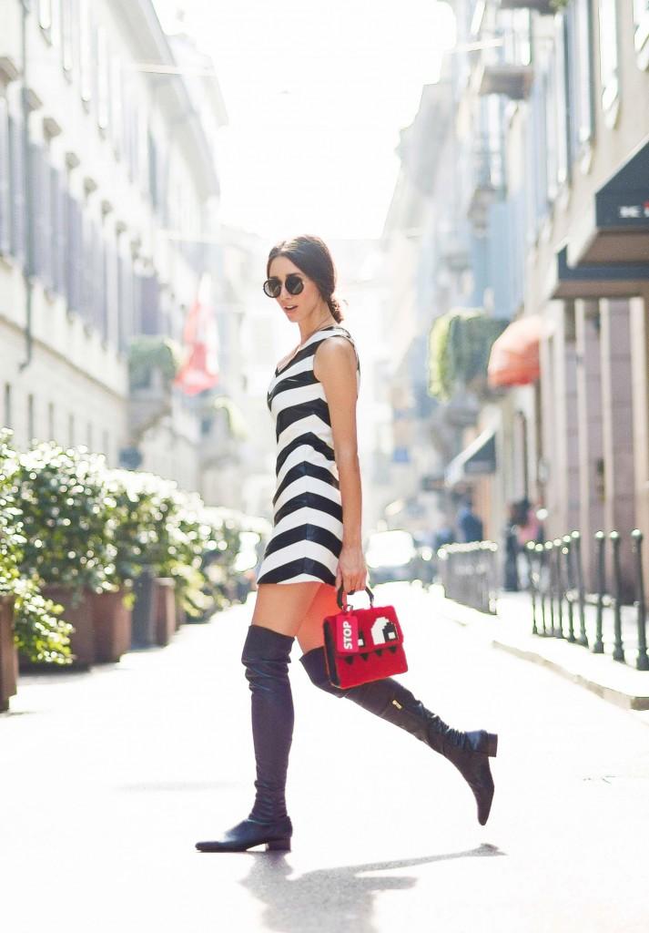 mfw ss 2016- fabulous muses-fabuloasele-milan street style-stripe dress-lego bag