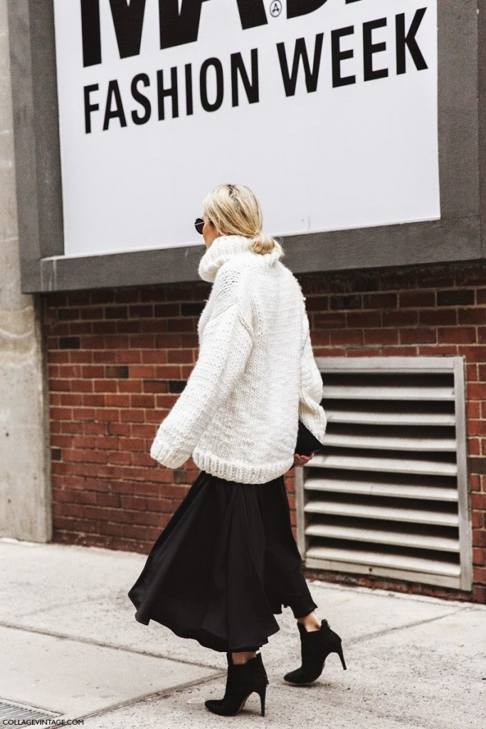 New_York_Fashion_Week-Fall_Winter_2015-Street_Style-NYFW-Skirt_And_Trousers-Oversize_Sweater-Turtle_Neck-Black_And_White_Outfit-1-knits-trend