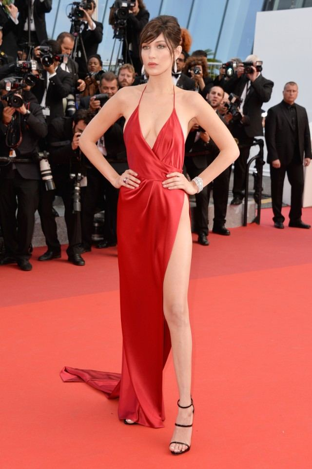 bella hadid in custom Alexandre Vauthier gown