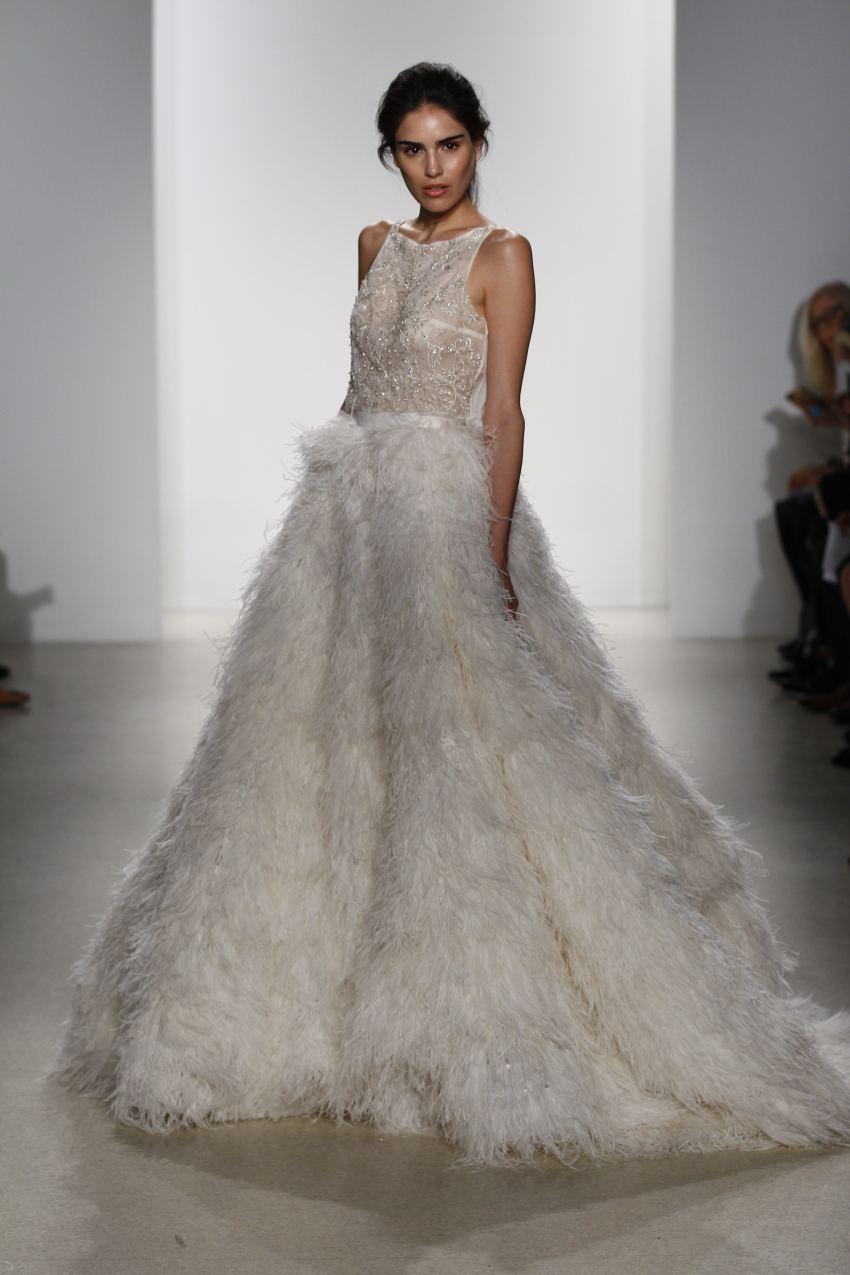 feathers trend Kelly Faetanini Bridal Spring 2016