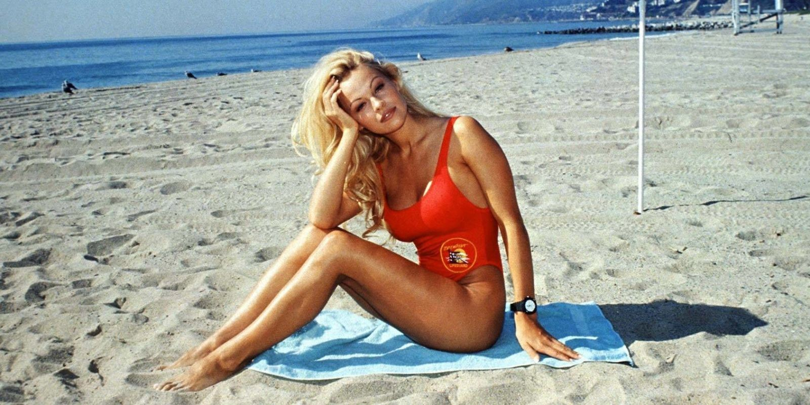 pamela anderson red swimsuit
